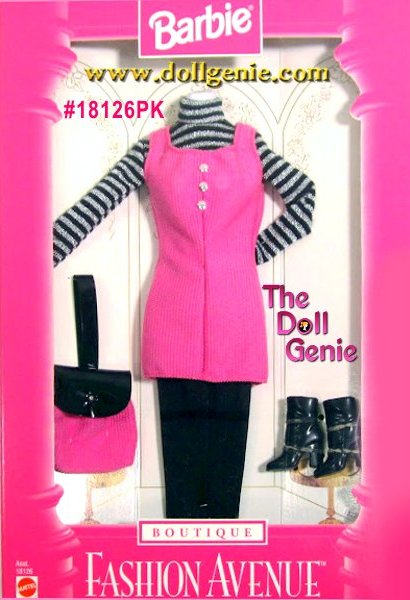Fashion Avenue Barbie Pink and Black Clothing and accessories