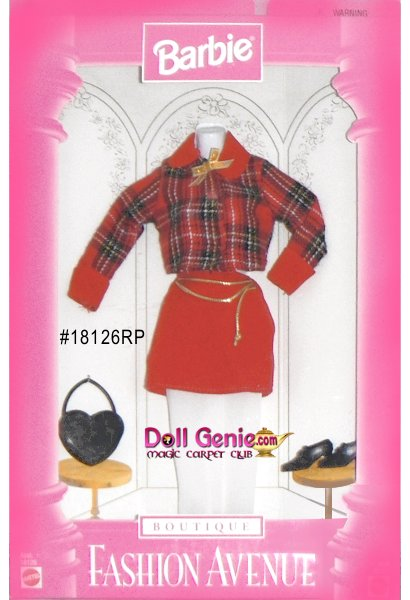 Barbie Fashion Avenue Red Plaid Fashion and Accessories Set