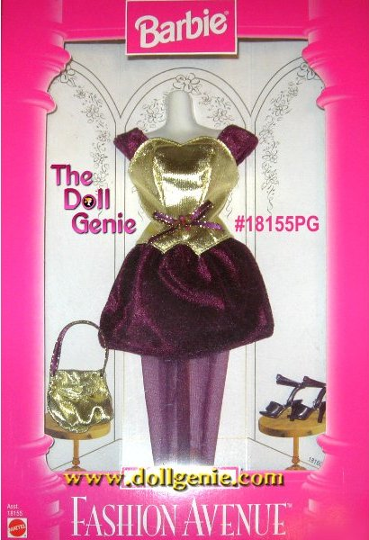 bb16994135 Barbie Fashion Avenue Burgundy   Gold Party Dress and Accessories Set