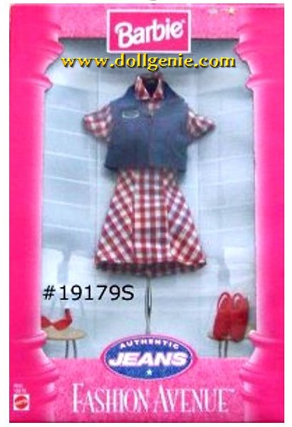 Barbie Fashion Avenue Plaid Dress and Jeans Vest Clothing Pack # 19179S