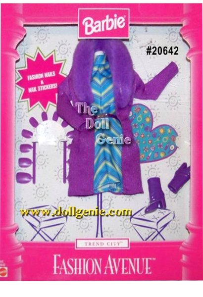 Fashion Avenue Trend City Barbie Clothing Set with Purple Coat, Dress and Accessories