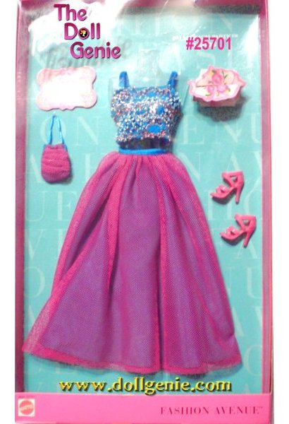 Fashion Avenue Barbie Pink Long Skirt with Fancy Blue Top and Accessories Set