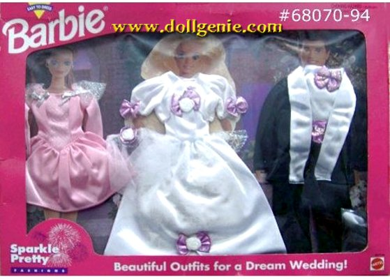 Barbie and Ken Sparkle Pretty Wedding Fashion Set #68070-94