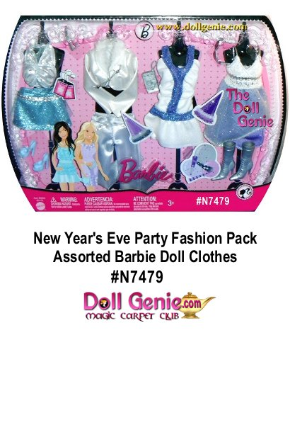 Barbie Doll Clothes Fashion N7479 New Year's Eve Party Outfit (White-Blue-Lavender Theme) with 2 Tops, 1 Pants, 1 Skirts, 2 Dresses, 1 Pair of High Heel Shoes, 1 Pair of High Heel Boots, Cell Phone, Handbag, and Pair of Glasses
