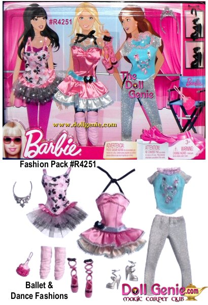 Barbie Ballet and Dance Fashion set includes: a fushia and pink dress. Also includes a satiny pink Tutu w/tiered Skirts (pink & silvery); tutu has black straps that tie at back of neck, a shimmery silvery pair of Warm Up Pants, an aqua Top with shimmery silver short sleeves and ballet slippers decal, pink Leg Warmers, pink plastic Ballet Slippers, a silver Tiara, black Hi Heel Platform Shoes and a light pink Purse w/dark pink roses trim around sides.