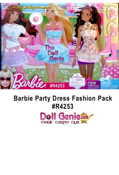 Barbie Party Fun Fashion Pack Includes: a white Top blue & pink Barbie Decal on front, a lilac Skirt pink waist band, a pink Purse, a shimmery blue ruffled Dress pink waist & straps, a pink & yellow Top cupcake pattern & glittery yellow ruffle on bottom, a pink Skirt, a pair of pink Hi Heel Shoes straps, a pair of pink Boots, & a plate Cupcake pink icing & dark pink heart on top.