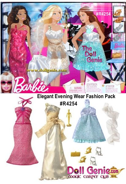 Includes: a shimmery silver & pink diagonal stipe Sheath Gown, a shimmery gold Sheath Gown, a glittery sheer white Shawl gathered down the center and a shimmery silver & aqua dress. There's a gold tone Award Statuette, a pair of gold tone wedge heel shoes, a pair of silver gray hi heel shoes, & a gold tone Clutch Bag.