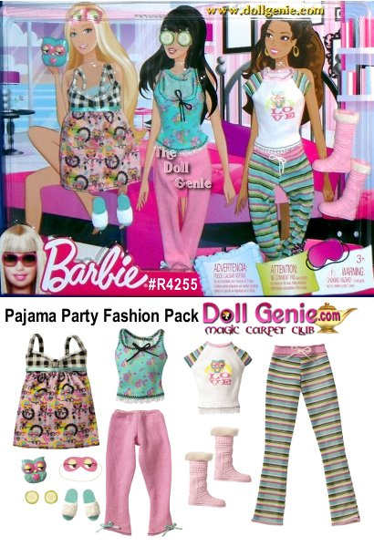 Barbie Pajama Party Fashion Pack Includes: a Nightie, 2 pairs of PJ's (Capris & Top, & Top & Pants), a pair of Slippers, a pair of Boots, a blue w/pink plastic Owl, & cardboard Accessories: Eye Mask w/elastic & Cucumbers).