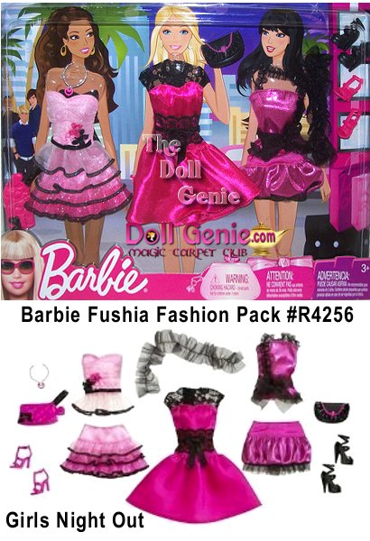 Barbie Fashion Pack - Girls Night Out - R4256 - Includes 3 outfits, 2 pairs of heels, 2 purses, a necklace, and a black wrap
