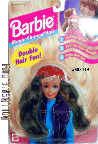 Barbie Magic Change Hair, Double Hair Fun! is a 1995 Arcotoys, Mattel production. Included is long brown hair & a red w/black & white pattern hat. Easy to Do - Pull hair through; Style & Go! Can be used for Barbie 11.5