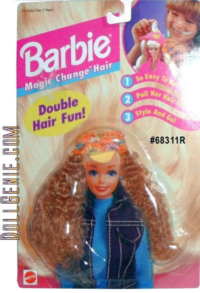 Barbie Magic Change Hair, Double Hair Fun! is a 1995 Arcotoys, Mattel production. Included is long reddish blond hair & a yellow, orange & white pattern hat. Easy to Do - Pull hair through; Style & Go! Can be used for Barbie 11.5