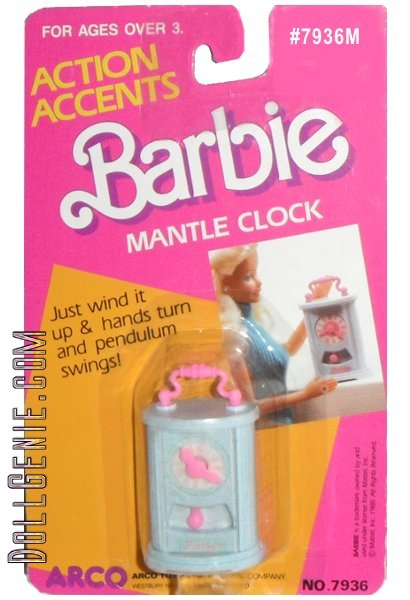 1988 BARBIE BY ARCO ACTION ACCENTS MANTLE CLOCK - JUST WIND IT UP AND HANDS TURN AND PENDULUM SWINGS