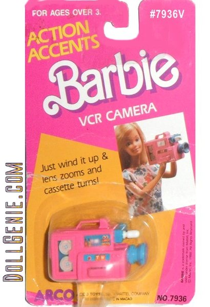 Action Accents Barbie VCR Camera - Just wind it up & lens zooms and cassette turns! is new and never removed from pack.