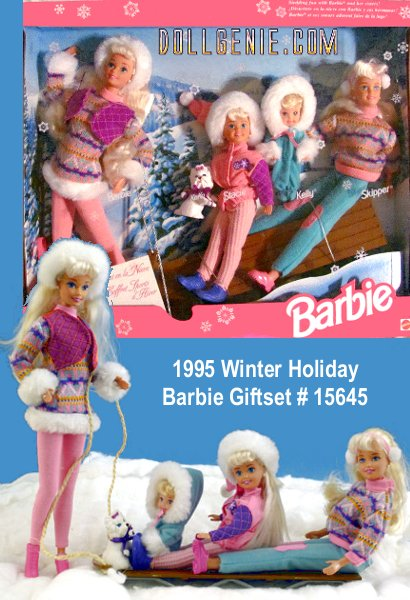 1995 Winter Holiday Giftset with Barbie, Skipper, Kelly and Stacie - Barbie and her 3 sisters plus Koko the dog Model No. 15645 - Barbie is ready to go sledding with her sisters and puppy. Contents includes: 4 dolls, outfits, sled and dog - Never Opened - excellent, like new.