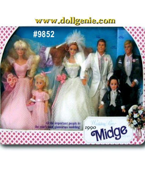 Midge Wedding Party Giftset with Barbie, Skipper, Ken, Todd and Alan (plastic slight yellowing - common for this item)
