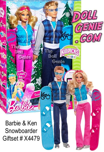 BARBIE & Ken I CAN BE a Snowboarder Giftset: Girls can explore the role of snowboarders with this gift set. Dressed in snowboarding gear and carrying their snowboards, Barbie and Ken dolls are ready to hit the slopes! Both wear silver snow boots and colored sunglasses for safety and style. Naturally, Barbie doll sports lots of her signature pink; there's no mistaking which board is hers. Dolls feature four points of articulation and their feet fit into the snowboards for extreme poseability. Includes Barbie doll, Ken doll, 2 snowboards and 2 pairs of sunglasses. Dolls cannot stand alone.