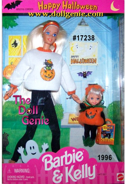 Barbie is wearing a white sweatshirt with an orange pumpkin and black cat on the front all ready to take little Kelly Trick or Treating! Kelly is all dressed up as a cute pumpkin carrying her little trick or treat pumpkin bag. This is an adorable giftset.