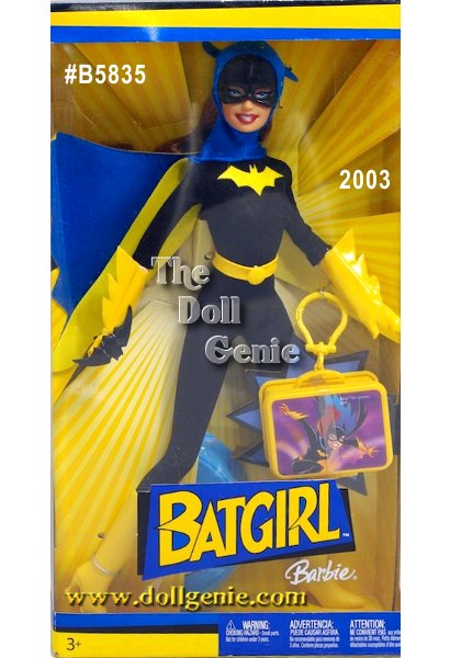 Batgirl Barbie is dressed in a blue & black bodysuit with a blue and yellow cape and blue mask.  Yellow boots and gloves complete her outfit.