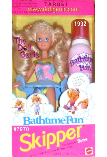 Target Exclusive, Bathtime Fun Skipper, Teen Sister of Barbie is a 1992 Mattel production. Model #7970. Included in this box is a Teen Skipper doll, approx. 10