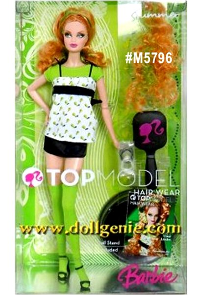 Barbie Top Model Hair Wear Summer Doll - Top model rules the runway, and Summer doll turns heads with a streak of color! There is a glamorous hair attachment and accessories that the girl can share too! Summer doll is dressed in charming fashions for spring