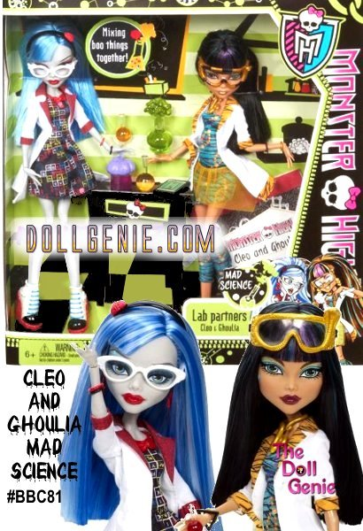 MAD SCIENCE Ghoulia Yelps and Cleo De Nile Monster High Classroom Partners Doll 2-Pack Collection: Homework can be such a monster, but it's always easier with a study partner. These ghouls have paired up to help each other ace their hairy classes. BFFs (beast friends forever) Cleo de Nile and Ghoulia Yelps will stay safe wearing creep-tastic goggles and lab coats as they concoct solutions and super grades in Mad Science class.