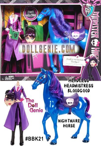 This Monster High Headless Headmistress Bloodgood doll and her nightmare shadow horse make their product debut in this head rolling set! Just like her animated character, this doll can remove her head, hop on her horse and ride wildly through the halls of Monster High. She comes dressed in a seriously studious long purple frock coat with white shirt, high boots and red tie. Her proud horse is befitted with an English saddle emblazoned with a Monster High Skullette, molded reins and has a luscious purple/blue mane and tail.