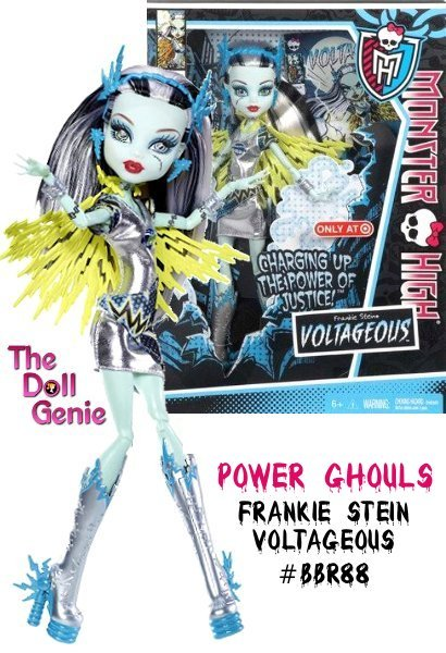 This is exclusive Power Ghouls Voltageous Frankie Stein is a must-have doll for your Monster High fan. When this ghoul decides to be a superhero, she will scare-y the day. This articulated Frankie Stein doll wears a fangtastic outfit complete with accessories, a journal or sketchbook and a doll stand.