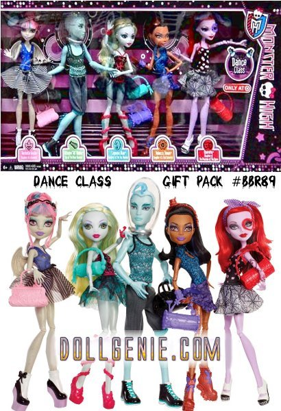 The ghouls are ready to groove! Monster High Dance Class 5 Pack - Rochelle Goyle, Gil Webber, Robecca Steam, Lagoona Blue, and Operetta. Each doll has her own skill, but they have a monstrously good time together! The dolls all include an outfit and dance bag. Dolls cannot stand alone