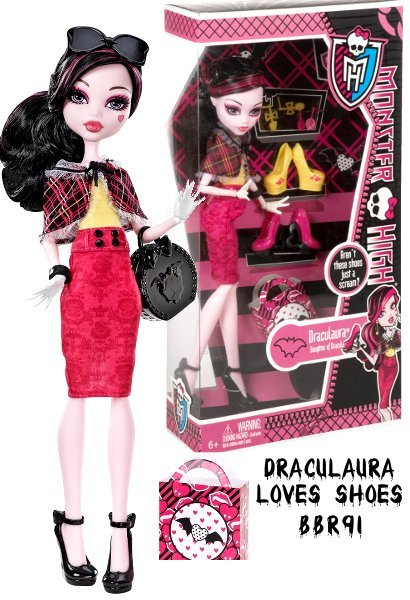 Like any fashionable ghoul, the students of Monster High love their shoes and accessories. Now, with this to-die-for gift set, Draculaura doll can step out in creepy-chic style with the most freaktastic footwear! She wears a fiercely fabulous outfit  a red pencil skirt, yellow top, and plaid capelet  and accessorizes her clawesome getup with a black purse, shoes, bracelet, and sunglasses. She also comes with two pairs of earrings and three pairs of heels (yellow, pink, and red) with heart and bat-wing accents, so ghouls can mix n match her monstrous looks!