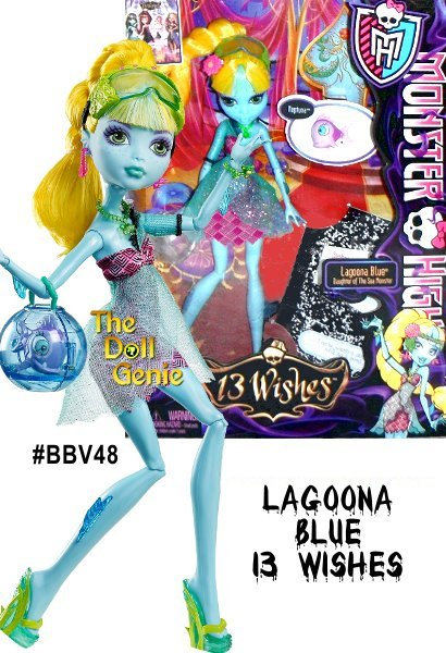 Monster High 13 Wishes Lagoona Blue doll, the resident Sea Monster, is wished from Saltwater to Freshwater and has an all new look to match! This special Lagoona doll shimmers in a pink and black dress with a sheer blue glittery overlay and sea-sational accessories - like a fishbowl purse. It's spook-tacular entertainment. Doll comes with pet, diary, brush, doll stand and character-specific accessories. Each sold separately, collect them all.