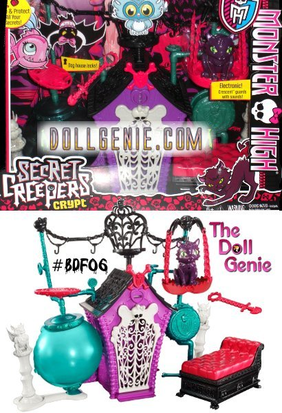 The Monster High Secret Creeper Crypt is one scary cool place to fang out. It has freaky colors, a creepy cool design and classic Monster High icons like web details and the signature Skullette. Hidden deep in the catacombs of Monster High is the Secret Creepers Crypt, where the pets fang out while the ghouls are in school. The crypt play set has plenty of places to stash your secrets as well as hiding spots (and a few open seats) for all of the Secret Creepers Critters and Pets (sold separately). Crescent cat stands guard with a motion detector feature designed to ward off intruders, adding to the clandestine atmosphere. Place the scary cute kitten of Clawdeen Wolf anywhere around the spooktacular set, with its cryptic clubhouse, industrial pipes and tanks and web-inspired seating. A coffin-like chaise adds additional seating and secret storage. Crescent will keep a purr-fect eye on the situation while the secrets keep and the creatures creep.