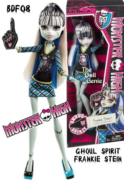 The Ghouls of Monster High are showing their school spirit. Frankie Stein Ghoul Spirit doll is showing her monster spirit with a giant sports hand. Decked out in schoolgirl plaid and the Monster High logo. rnDoll is fully articulated so she can be posed in many different ways.rnIncludes doll and spirit-themed outfit