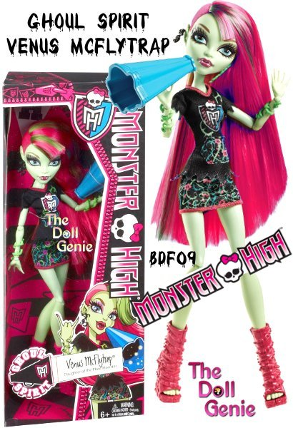 The Ghouls of Monster High are showing their school spirit.rnVenus McFlytrap Ghoul Spirit doll will captivate audiences with her bullhorn. Dressed in a pink-trimmed miniskirt and Monster High school t-shirt with its shredded edges. Doll is fully articulated so they can be posed in many different ways. Includes doll and spirit-themed outfit
