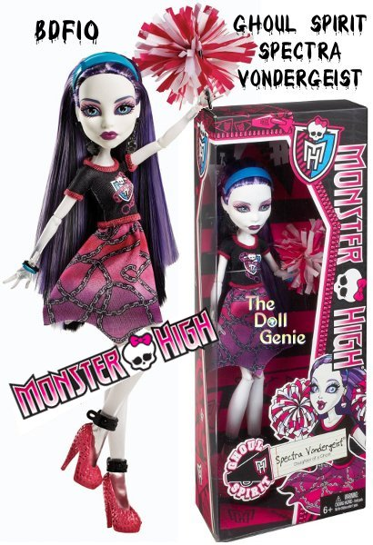 The Ghouls of Monster High are showing their school spirit. Spectra Vondergeist Ghoul Spirit doll will haunt opponents in her boo-tiful fashion. She carries a pom pom to show her ghoul pride. Doll is fully articulated so she can be posed in many different ways. Includes doll and spirit-themed outfit.