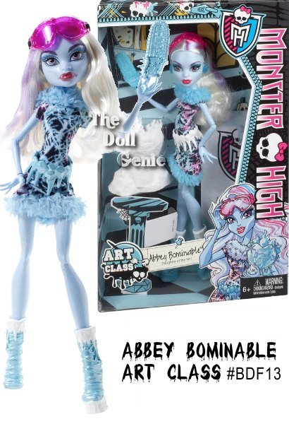 Art class really helps to paint a picture! The ghouls of Monster High are showing off their unique artistic talents - and looking picture-perfect themselves! Abbey Bominable doll likes to work with one of her favorite materials - ice! Equipped with her trusty blue chainsaw, shes created a gorgeous ice castle that will rule the class - until it melts, of course. She looks equally cool in a fur-trimmed dress with a chilling print and magnificent icicle belt. Blue and white ankle boots and pink goggles complete her artsy look. Abbey Bominable doll also comes with a signature-style brush and character-specific diary.