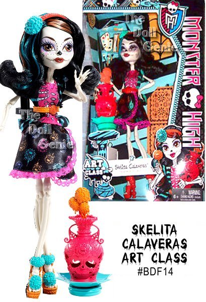 The ghouls of Monster High are showing off their unique artistic talents - and looking picture-perfect themselves! Skelita Calaveras dolls favorite class is art, and shes throwing quite the pottery! Her skull-shaped pottery wheel actually spins for an extra killer touch! Her outfit is equally to die for with pink lacy trim, a bright print on black and a lively orange belt. The to-die-for shoes match her belt with bright bursts of blue, and her headband is just as festive. Skelita doll also comes with a signature-style brush and character-specific diary.