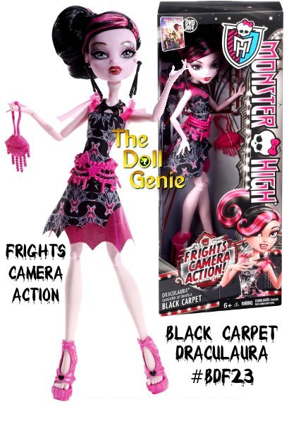 Monster High Frights, Camera, Action! Black Carpet Draculaura Doll: Draculaura doll is looking gore-geous glamorous for the Hauntlywood Black Carpet Premiere. With the monster opportunity to show off her killer sense of style, its going to be a complete horror show! This daughter of Draculas dress is to die for with its bat-iful art deco-inspired print, shimmery pink skirt accent and tulle ruffled sleeves. A spider-shaped belt, scary-cool black earrings and necklace, mouth-watering evening bag and fang-tastic pink heels make spooktacular accessories. She is sure to enchant walking the black carpet!