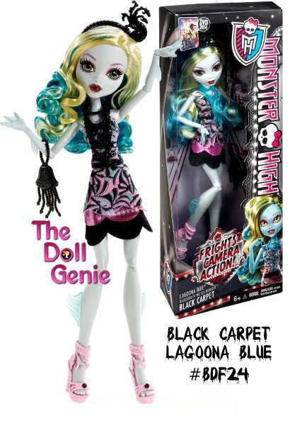 Monster High Frights, Camera, Action! Black Carpet Lagoona Blue Doll: Lagoona Blue doll is looking gore-geous glamorous for the Hauntlywood Black Carpet Premiere. With the monster opportunity to show off her killer sense of style, its going to be a complete horror show! This daughter of the Sea Monsters dress is to die for with its sea-sational art deco-inspired print, layered hem and strapless bodice. Fintastic accents include a fish-ionable black belt and brilliant blue necklace. A sea-themed headpiece, jellyfish-shaped evening bag and pearly pink shoes make spooktacular aquatic accessories. She is sure to make waves walking the black carpet!