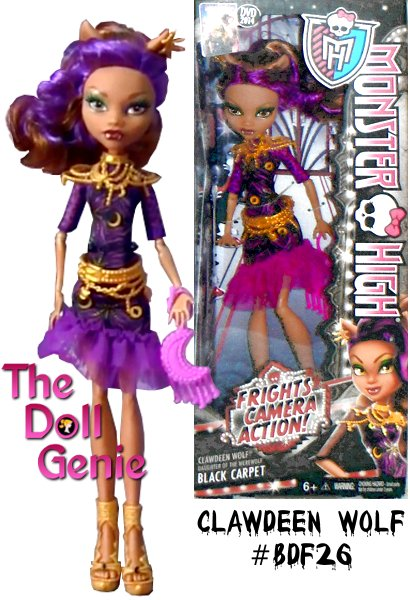 Monster High Frights, Camera, Action! Black Carpet Clawdeen Wolf Doll: Clawdeen Wolf doll is looking gore-geous glamorous for the Hauntlywood Black Carpet Premiere. With the monster opportunity to show off her killer sense of style, its going to be a complete horror show! This daughter of the Werewolfs dress is to die for with its art deco-inspired print, clawesome lacy ruffled hem and fiercely sleek silhouette. Golden accessories include a fang-tastic layered belt, regal ear clip, fashionably fierce necklace and scary-cool cutout ankle boots. The pink moon-shaped purse is a final spooktacular accessory. She is sure to get all hearts racing walking the black carpet!