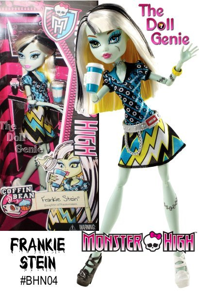 The Monster High gang loves to fang out at the Coffin Bean cafe, one of their favorite haunts. Carrying her favorite ghoulish treat, Frankie Stein doll is ready to grab a table for some ghoul-talk with her ghoulfriends. And even though the dress code is comfy and casual, this monsterista always has killer style. With two graphic prints, bolt-inspired dress is to-die-for. A mismatched collar and shoes infuse her iconic electric style, while a silvery belt and yellow bangle complement her signature colors. She carries a lidded coffin-cino drink with handle in her clawesome hand.