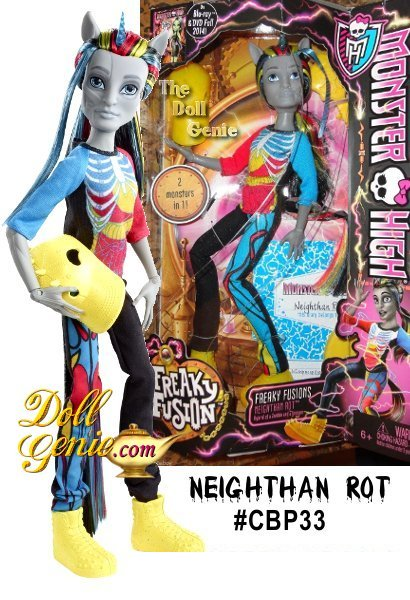 In a freaky twist of adventure, some of the favorite Monster High ghouls get accidentally fused together in ways never seen before!rnNeighthan Rot is a unicorn-zombie boyrnEach freaky fabulous doll offers twice the freaky flaws along with killer stylernAccessories include a hat with a hole cut out for his unicorn hornrnEach also comes with a doll stand, brush and humorous fusion diary
