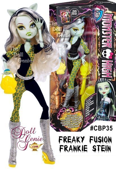 Fusion is all the rage, and Frankie Stein has been inspired by beast friend forever Clawdeen Wolf. Fierce werewolf features on this Daughter of Frankenstein include ears, fangs and a clawesome purse with paw detail. She looks striking in her outfit with graphic black blocks mixed with an electric blue and yellow print. To-die-for accessories include silvery boots, a silvery belt and nuts-and-bolts-inspired jewelry. Doll also comes with a Skullette-shaped brush and doll stand