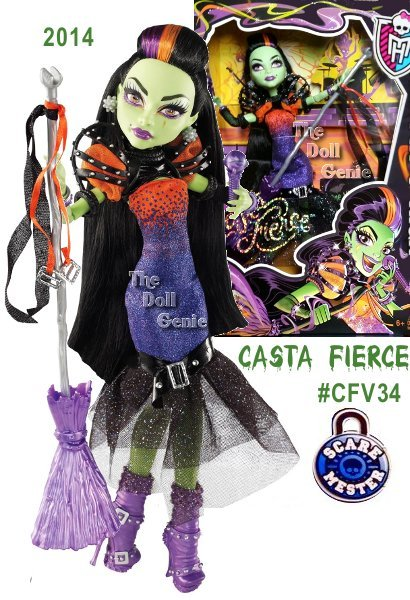 Casta Fierce will be rocking with the student disem-body of Monster High this All Hallows Eve when she and her band perform their monster hits - it's the most exclusive ticket in the monsterrific universe. The Daughter of Circe has always been a drama queen - and this sparkling flared gown is brimming with drama! An ombre effect is created on the orange fabric of the bodice with purple-shaded beading; a black belt with buckle and sheer layers make up the fishtail skirt. Wicked cool puffed sleeves, buckles and straps are killer touches, while enchanting accessories (bewitching boots and bangles) complete the outfit. Always an entertainer, Casta Fierce doll comes with a microphone she can hold in her hand or clip into her broom, which doubles as a mic stand!