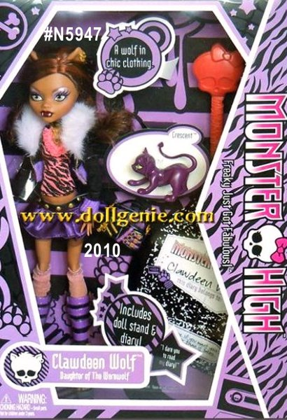 Clawdeen Monster High School Doll # N5947 / BBC42rnAge:15 rnMonster Parent:The Werewolf rnKiller Style: A fierce fashionistarnFreaky Flaw: To much HAIRrnPet:  Crescent, a scary cute little kitten as fuzzy as I am. rnFavorite Activity: Shopping and flirting with the boys! rnBiggest Pet Peeve: I hate having so many of my brothers and sisters in school at the same time.rnFavorite School Subject: Economics. One day I plan on having my own fashion empire and I want to know as much about business as I do about Fashion. rnLeast Fav Subject: GymrnFavorite Color:  GoldrnFavorite Food:  Steak. . . Rare. rnBFF's:  Frankie Stein and Draculaura
