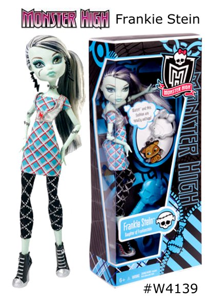 Monster High Classrooms Frankie Stein DollrnAge: I'm 15. . . Days that is. rnMonster Parent: Frankenstein and his bride rnKiller Style: Scary cute clothes that are absolutely to die for. rnFreaky Flaw: My stitches come loose at the worst possible moments.rnPet:  WatzitrnFavorite Activity: Since I'm only 15 days old I don't really have a favorite yet!rnBiggest Pet Peeve: my father insists on grinning and shouting