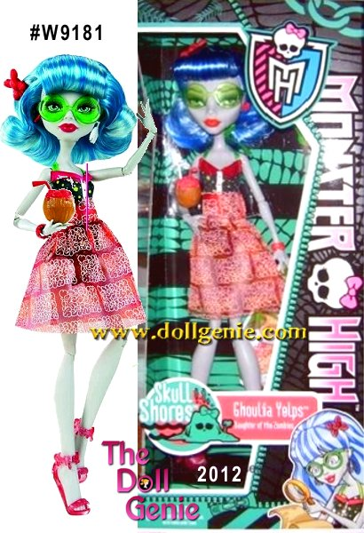 Ghoulia Yelps Skull Shores Monster High Doll - Its spring break, and all the ghoul kids are heading to an island adventure for some roaring good times! The students of Monster High are decked out in spooktacular swimsuits with cover-ups for the girls. Draculaura doll has accessorized for the beach with a small sailor cap, Lagoona Blue doll has a flower headband in her hair, Ghoulia Yelps doll is sporting sunglasses, Abbey Bominable doll is staying shaded under a large purple icehat and Gil Webber doll has on his helmet and a beachy necklace. Each doll comes with a cool treat, like an algae smoothie or shaved ice, to help spring into break!