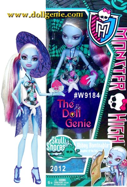 Abbey Bominable Monster High Skull Shores Doll - 19 year old daughter of YetirnKiller Style - Fur and Icy Crystals rnFreaky Flaw - She's Cold and has no TactrnPet - Shiver is my woolly mammothrnFavorite Activity - Snow Boarding rnBiggest Pet Peeve - The ritual of datingrnFav School Subject - MathrnLeast Fav Subject - DramarnFavorite Color - Ice BluernFavorite Food - The cheese of the yak and pancakesrnBFFs - Lagoona Blue and Frankie Stein