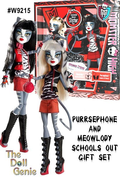 The Monster High Schools Out doll line is the second line of dolls that features the characters in non-themed, day-to-day School Classroom outfits. The MH Schools Out line features Frankie Stein, Clawdeen Wolf, Howleen, Spectra Vondergeist, Cleo de Nile, Draculaura, Clawd Wolf and Abbey Bominable and Lagoona Blue. Collect them all! This is a limited edition, rare set, hard to find.