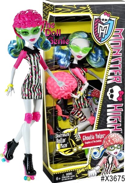 This Ghoulia Yelps Monster High Roller Maze Doll is one of the newest students at Monster High and has her own signature style. Skultimate Roller Maze is a ferocious game that requires monster skills, but the star players of the sport have all gotten injured, and the ghouls of Monster High have been asked to skate in and save the day. This Skultimate Roller Maze Doll is up to the challenge and ready to roll. The Ghoulia Yelps Doll features lots of scary details, has bright stylish hair and wears a uniquely fangtastic Skultimate Roller Maze outfit complete with a helmet, knee pads, fashionable skates, protective sunglasses and a bracelet.