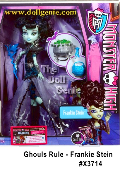 Celebrate the monster of Frankenstein with this Monster High Ghouls Rule Frankie Stein doll. The ghouls of Monster High have always stayed home on Halloween-but not this year! Theyve decided to take back the holiday and dress in over-the-top costumes that commemorate their famous monster heritages. This Frankie Stein doll is dressed in a voltage dress with Bride of Frankenstein-inspired hair. Set includes doll and fashion-themed accessory.